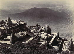 [General view of Jain temples on the Girnar Hills looking back down towards Junagadh city]